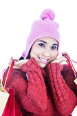 Closeup sweet woman dressed for winter — Stock Photo