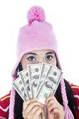Woman holding cash — Stock Photo
