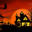 Haunted mansion with Jack O Lantern — Stock Photo