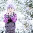 Beautiful girl make a wish in winter during Christmas — Stock Photo