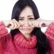 Crying woman wearing sweater — Stock Photo
