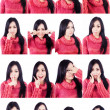 Beautiful facial expressions multiple shots — Stock Photo
