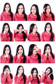 Beautiful facial expressions multiple shots — Foto Stock