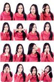 Belle espressioni facciali scatti multipli — Foto Stock