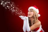 Krásná paní santa Clause přeji Veselé Vánoce — Stock fotografie