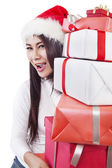 Christmas gifts from Santa isolated in white — 图库照片