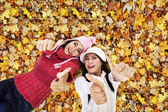 Beautiful friends laying on Autumn leaves — Stock Photo
