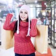 Beautiful lady carry shopping bags in mall — ストック写真