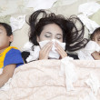 图库照片: Family having flu