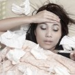 Woman having high fever - Foto Stock