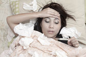 Woman having high fever — Stock Photo