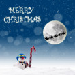 Christmas card design with snowman and candy cane under full moon — Stock Photo #14727555