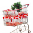 Christmas tree item on sale in shopping cart isolated — Stock Photo #14727879
