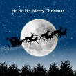 Silhouette of Santa ride with full moon scene — ストック写真