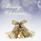 Christmas bell and greeting in blue lights background — Stock Photo