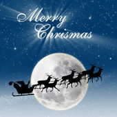 Christmas card design Santa riding deers on full blue moon — 图库照片