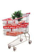 Christmas tree item on sale in shopping cart isolated — 图库照片