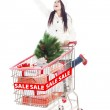 Beautiful woman shopping for Christmas sale isolated in white — Stock Photo