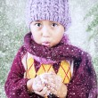 Boy is freezing in cold winter under tree — ストック写真