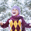 Happy boy play with snow on mountain — Stock Photo