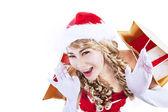 Compra venta de navidad con la sra. claus aislados en blanco — Foto de Stock