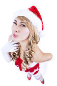 Christmas pin-up girl gesture-isolated in white — Stock Photo
