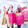 Winter shopping with friends at mall — Stock Photo #15618591