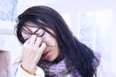 Woman with bad headache in winter — Stock Photo