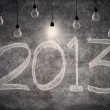 Bright ideas in 2013 with light bulbs — Stockfoto