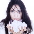 Asian girl holding tissue isolated in white — Stock Photo #16142283