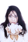 Asian girl holding tissue isolated in white — Stock Photo