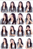 Asian woman useful faces isolated over white — Stock Photo