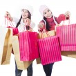 Winter shopping with bags isolated in white — Stock Photo