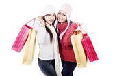 两个朋友带购物袋、 孤立在白色 — 图库照片