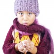 Stock Photo: Boy is freezing in cold winter
