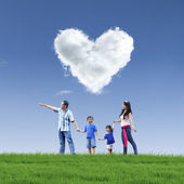 Beautiful cloud love and family on blue sky — Stok fotoğraf