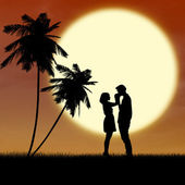 Girl and guy in love by sunset silhouette — Stock Photo