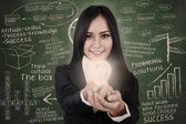 Businesswoman give light bulb in class — Stock Photo