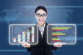 Virtual business chart — Stock Photo
