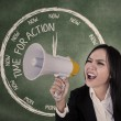 Businesswoman scream using speaker — Stock Photo