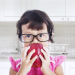 Nerd toddler in the kitchen — Stock Photo