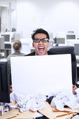 Businessman scream and blank paper — Stock Photo