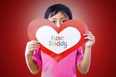 Boy give love card to dad — Stock Photo