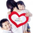 Single mom loved by children - isolated — ストック写真