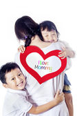 Single mom loved by children - isolated — Foto Stock
