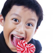 Happy boy loves lollipop — Stock Photo #19181883