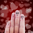 Finger family valentine design — Stock Photo
