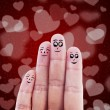 Stock Photo: Finger family valentine design