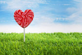 Big heart lollipop horizontal — Stock Photo