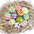 Colorful easter eggs in nest — Stock Photo